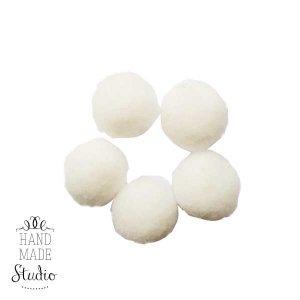 Текстильные мохнатые бусины, цвет белый, 1,5 см