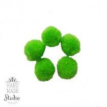 Текстильные мохнатые бусины-помпоны (5 шт), цвет - салатовый, 2 см