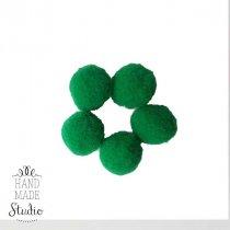 Текстильные мохнатые бусины-помпоны (5 шт), цвет - зеленые, 2 см