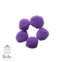 Текстильные мохнатые бусины (5 шт), цвет - фиолетовый, 2 см