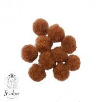 Текстильные мохнатые бусины-помпоны (10 шт), цвет - коричневый, 1 см