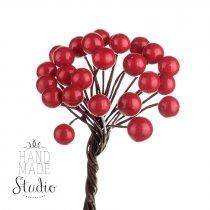 Ягода декоративная лаковая, цвет красный d-0,8см, 25 двухсторонних ягод