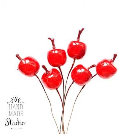 Яблоки на проволоке 5 штук, цвет темно-красный, 2,5 см