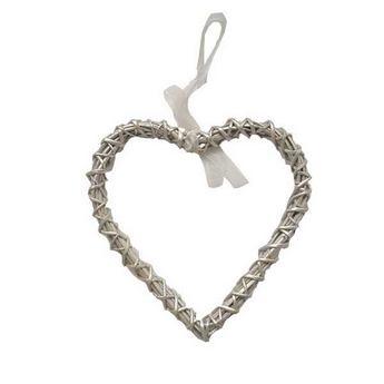 Сердце  из ротанга, цвет серебро  25х26 см.