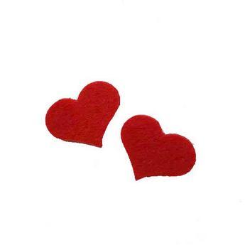 Фетровые сердечки 2 шт,  цвет красный 3,5х2,5 см