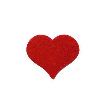 Фетровое сердечко большое,  цвет красный 6х5 см