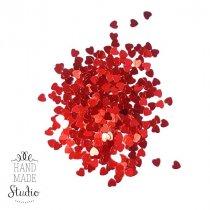 Сухие блестки Сердечки, цвет красный