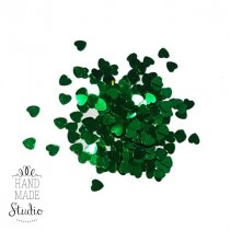 Сухие блестки Сердечки, цвет зеленый