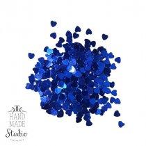 Сухие блестки Сердечки, цвет синий