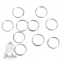 Соединительный кольца двойные, посеребренные 0,8 см