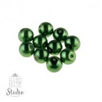 №431 Бусины под жемчуг стеклянные, цвет темно-зеленый, 4 мм, 10 шт