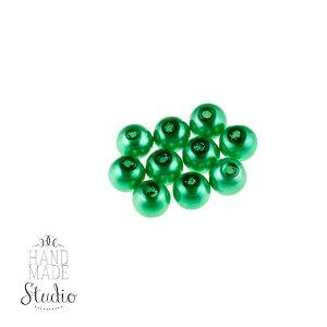 №39 Бусины под жемчуг стеклянные, цвет зеленый, 12 мм