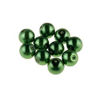 №42 Бусины под жемчуг стеклянные, цвет темно-зеленый, 12 мм