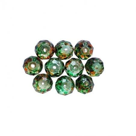 Бусины чешский хрусталь 6 мм, цвет зелено-оранжевый №100