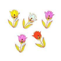 Пуговки для скрапбукинга Цветочки-микс 40 мм, 5 шт.