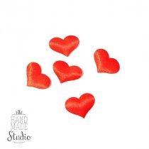 Атласные сердечки 5 шт,  цвет красный 22х15 мм