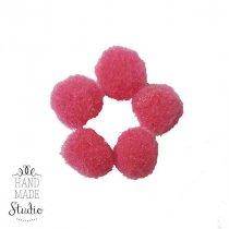 Текстильные мохнатые бусины-помпоны (5 шт), цвет - ягодно-розовый, 2 см