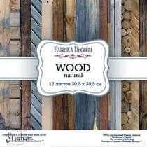 """Набор двусторонней фоновой бумаги 30,5х30,5 см """"WOOD natural""""12 листов"""