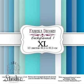 """Набор двухсторонней фоновой бумаги 30,5х30,5 см """"Background №1 XL""""12 листов"""