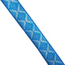 Лента (тесьма) декоративная с узором 2 см, Украинский орнамент голубая, 1м