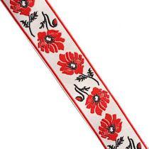 Лента (тесьма) декоративная с узором  3 см, Украинский орнамент маки, 1м