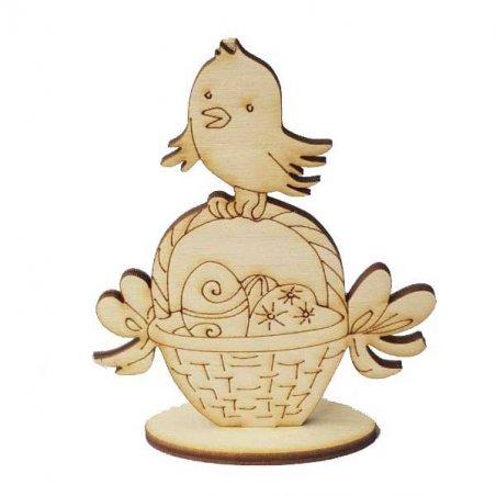 Деревянная пасхальная заготовка на подставке Цыпленок с корзинкой, 11х8,5см