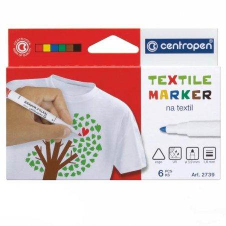 Набор из 6ти маркеров для ткани Centropen Textile, 1,8 мм