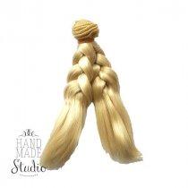 Искусственные волосы на трессе косичка 15 см, цвет молочно белый (2/23)