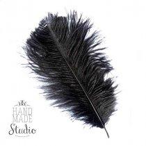 Перо страуса черное 15-20 см (1 шт.)