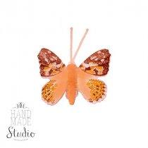 Декоративная бабочка маленькая, цвет оранжевый 5 см