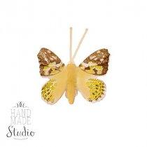 Декоративная бабочка маленькая, цвет желтый 5 см
