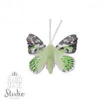 Декоративная бабочка маленькая, цвет салатовый 5 см