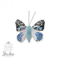 Декоративная бабочка маленькая, цвет голубой 5 см