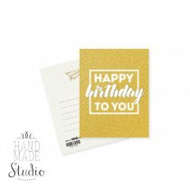 "Мини открытка ""Happy birthday to you""Gold 10х7,5 см"