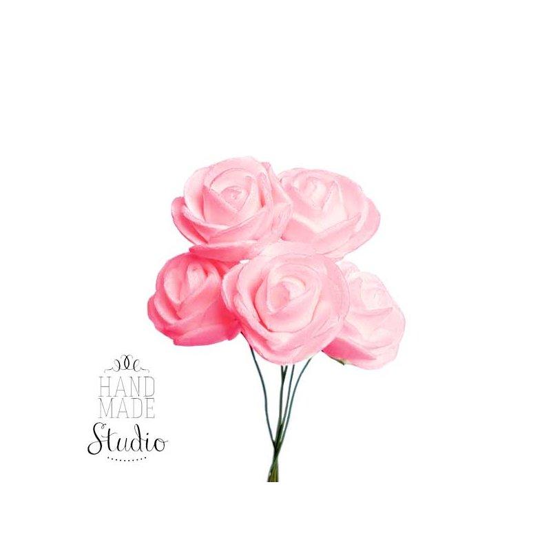 Маленькие розочки из фоамирана, 2-2,5 см, цвет розовый, 5 штук