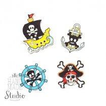 """Пуговки для скрапбукинга """"Пираты"""", цвет микс 4 шт."""