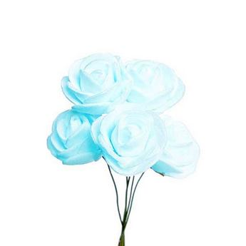 Маленькая розочка, цвет голубой 1,5-2 см