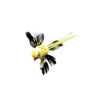 Декоративная птичка на проволоке (5см),  цвет желтый
