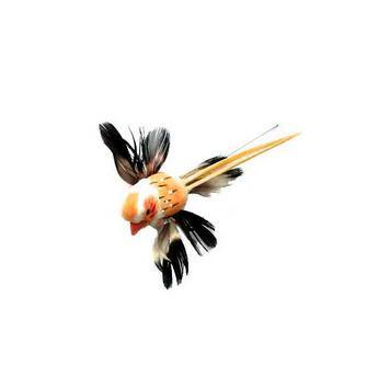 Декоративная птичка на проволоке (5см),  цвет оранжевый