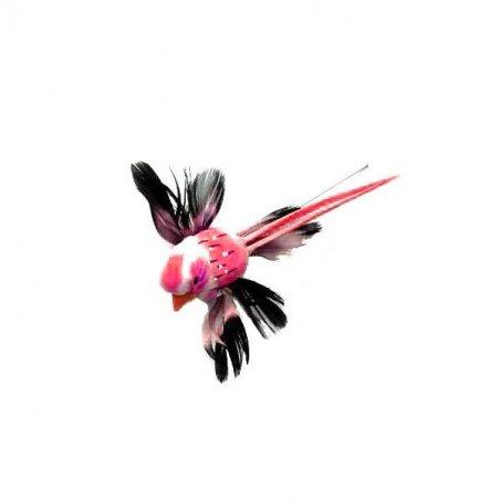 Декоративная птичка на проволоке (5см),  цвет бордовый