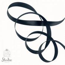 Атласная лента, цвет черный, 6 мм (20м.)