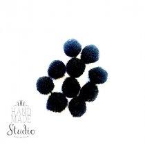 Текстильные мохнатые бусины-помпоны(10шт), цвет - черный, 1 см