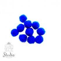 Текстильные мохнатые бусины-помпоны(10шт), цвет - синий, 1 см