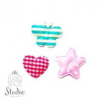 Текстильный декор ( сердечки, звездочки, бабочки) 3 шт,  цвет микс