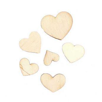 """Набор деревянных заготовок """"Сердца""""№2, 6 штук"""