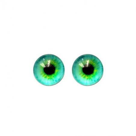 Глазки стеклянные для кукол №77111 (пара), 14 мм, цвет мятно-салатовый