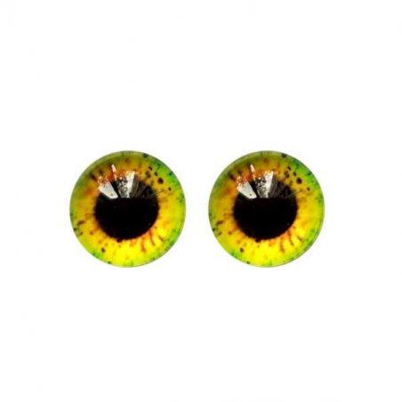 Глазки стеклянные для кукол №77005 (пара), 8 мм, цвет зелено-желтый