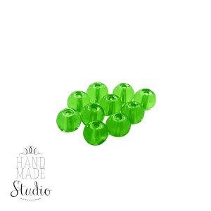 Бусины стеклянные зеленые, 8 мм, №2, 10 шт