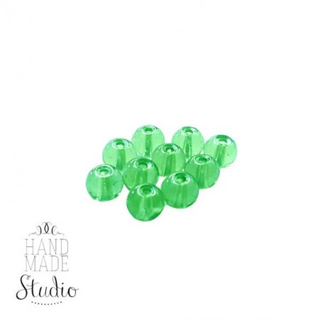 Бусины стеклянные светло-зеленые, 6 мм, №22