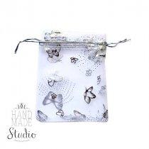 """Подарочный мешочек из органзы """"Бабочки"""" 12х9 см, цвет- серебристый"""